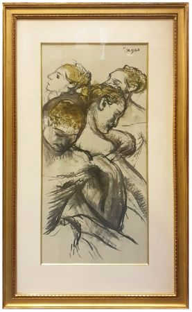 Collograph Degas - QUATRE BALLERINES (1898)