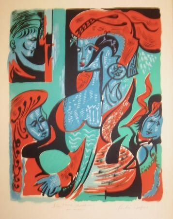 Lithograph Masson - Quatre dames