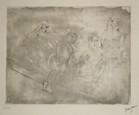 Aquatint Pascin - Quatre femmes au divan