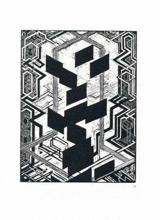 Woodcut Kupka - Quatre histoires de blanc et de noir.