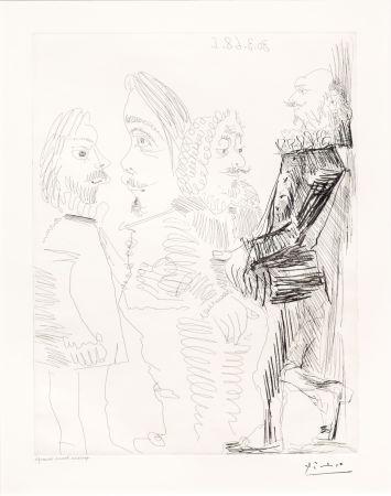 Etching Picasso - Quatre Hommes en Costume