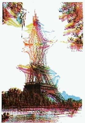 Lithograph Bury - Quatre tours Eiffel superposées