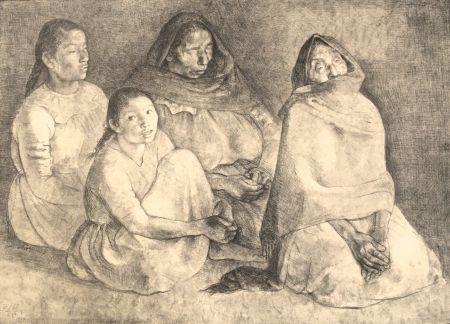 Lithograph Zuniga - Quattro Mujeres