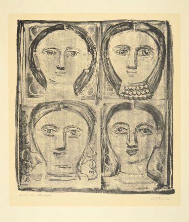 Lithograph Campigli - QUATTRO TESTE, 1942