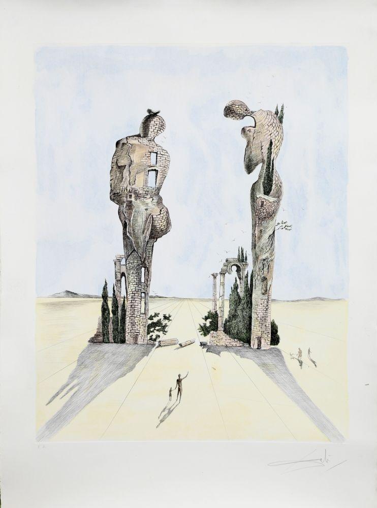 Engraving Dali - Réminiscence Archéologique de l'Angélus de Millet (1983)