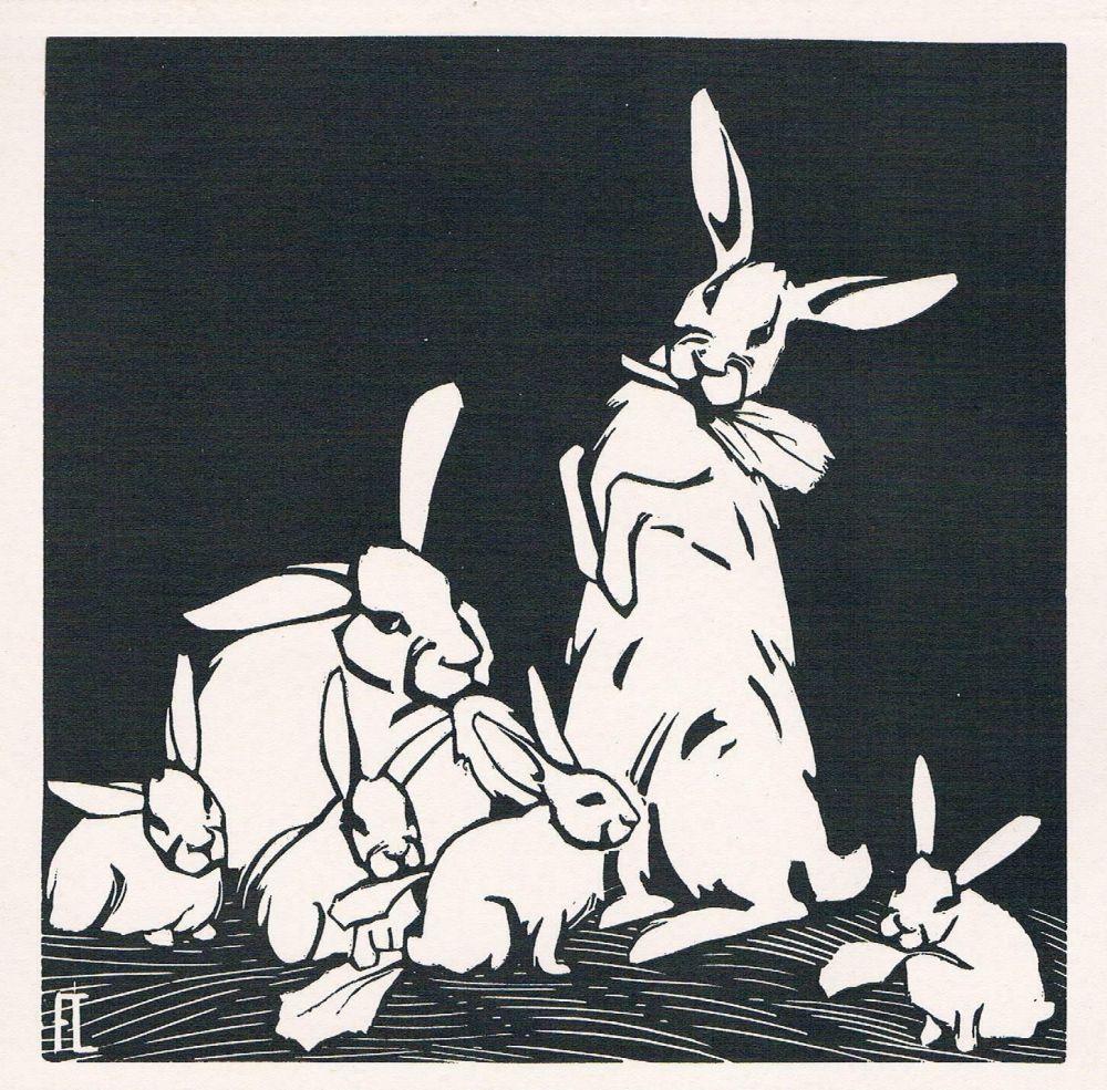 Woodcut Lang - Rabbits