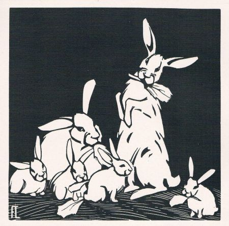 Woodcut Lang - Rabbits