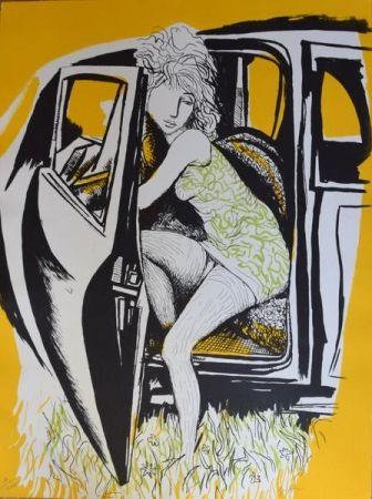 Lithograph Guttuso - Ragazza che scende dall'auto