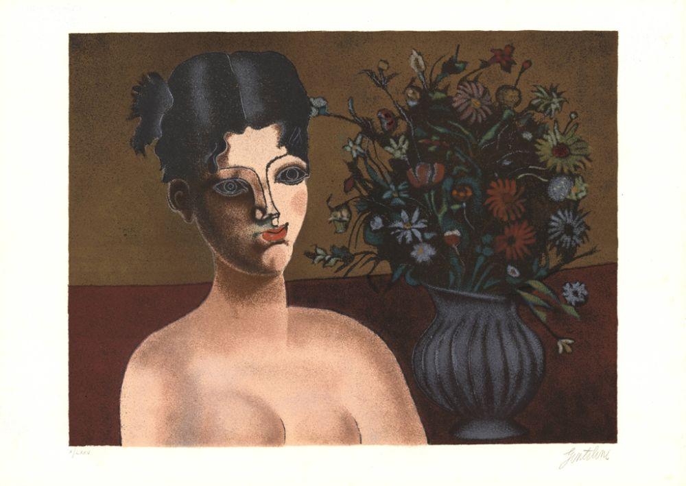 Lithograph Gentilini - Ragazza con vaso di fiori