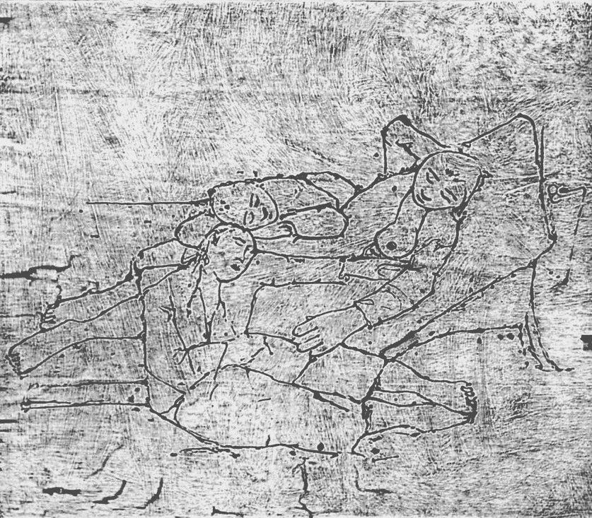 Woodcut Casorati - Ragazze al mare