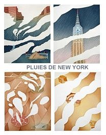 Etching And Aquatint Folon - Rains of New York - Pluies de New York (complet suite)