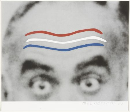 Screenprint Baldessari - Raised Eyebrows/Furrowed Foreheads (Red, White, and Blue) from Artists for Obama