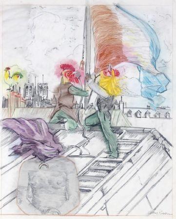 Lithograph Rivers - Raising the Flag