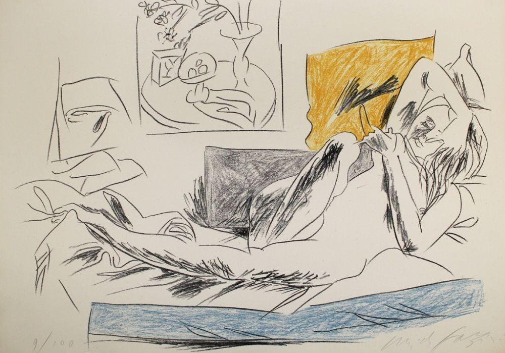Lithograph Fazzini - Reading Nude
