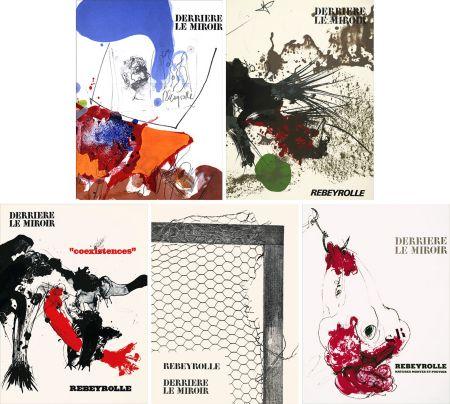 Illustrated Book Rebeyrolle - REBEYROLLE : Collection complète des 5 volumes de la revue DERRIÈRE LE MIROIR consacrés à Paul Rebeyrolle (parus de 1967 à 1976). 32 LITHOGRAPHIES ORIGINALES.