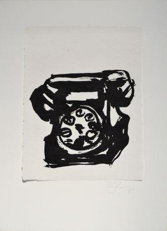 Linocut Kentridge - Rebus Telephone