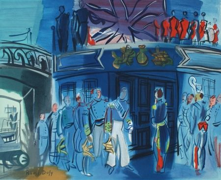 Lithograph Dufy - Reception d'in amiral Anglais sur un bateua Francais