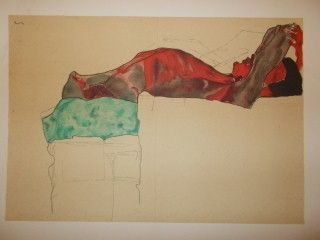 Lithograph Schiele - Recicling male nude with green cloth 1910