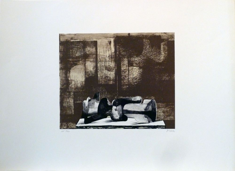 Lithograph Moore - Reclining figure architectural background IV