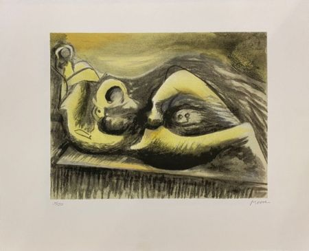 Lithograph Moore - Reclining Figure Idea for Metal Sculpture