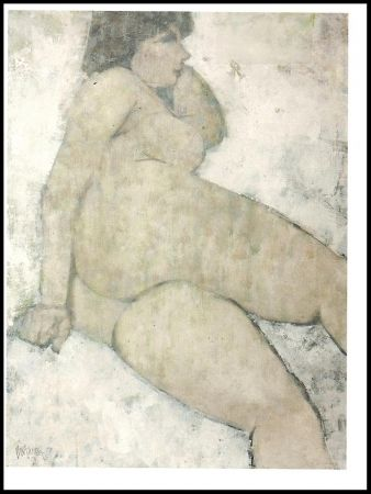 Lithograph Portway - Reclining Nude