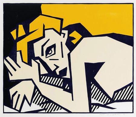Woodcut Lichtenstein - Reclining Nude