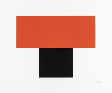 Screenprint Kelly - Red-Orange over Black