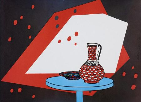 Lithograph Caulfield - Red and White Still Life
