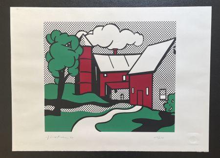 Screenprint Lichtenstein -  Red Barn