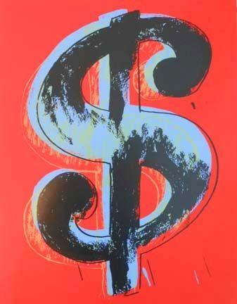 Screenprint Warhol - Red Dollar