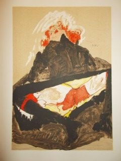 Lithograph Schiele - Red haired girl with spread legs