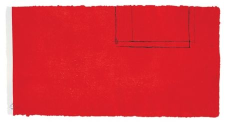 Aquatint Motherwell - Red Open With White Line
