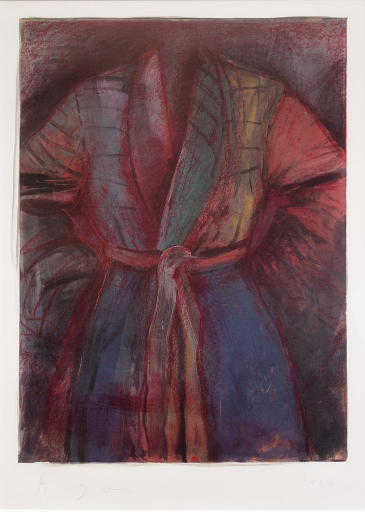 Lithograph Dine - Red Robe in France