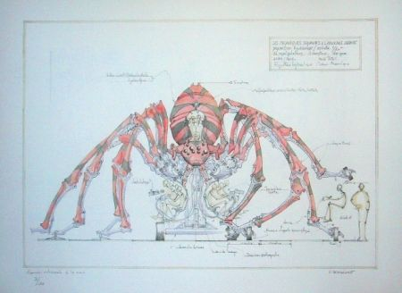 Lithograph Delarozière - Red Spider - La Machine - Liverpool