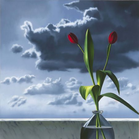 No Technical Cohen - Red Tulips Against Cloudy Sky
