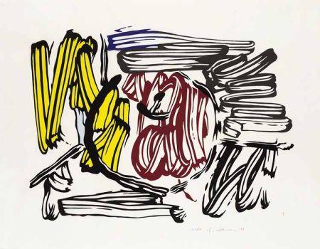 Woodcut Lichtenstein - Red & Yellow Apple