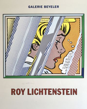 Lithograph Lichtenstein - 'Reflections on Girl' Hand Signed Exhibition Poster