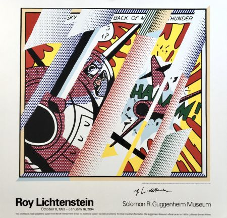 Lithograph Lichtenstein - 'Reflections: Whaam!' Hand Signed Exhibition Poster