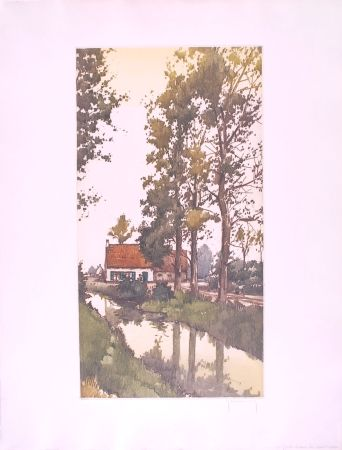 Engraving Hebbelinck - Reflet dans le ruisseau