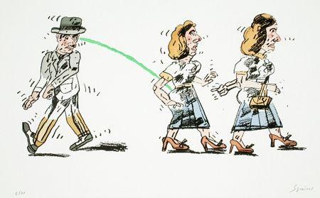 Lithograph Segui - Regard furieux