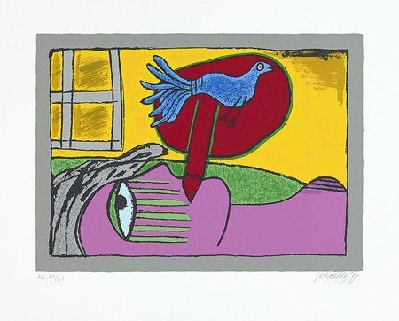 Screenprint Corneille - Regard sur l'oiseau