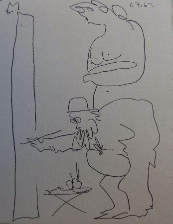 Lithograph Picasso - Regards sur Paris - The painter and his model