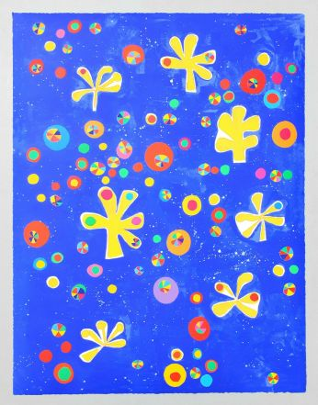 Screenprint De Maria - Regno dei fiori universo senza bombe pax et bonum semper tecum