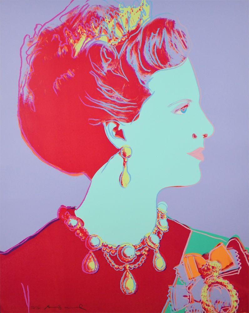Screenprint Warhol - Reigning Queens Series, Queen Margrethe II of Denmark (Violet)
