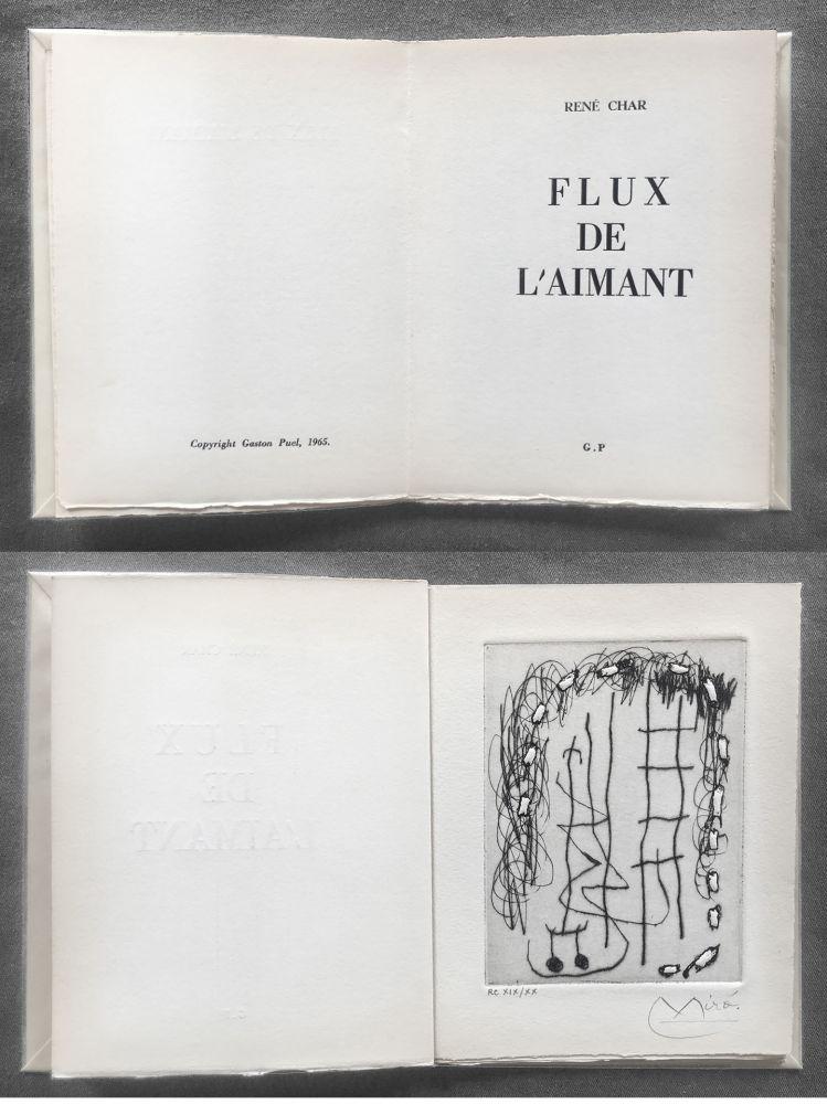 Illustrated Book Miró - René Char : FLUX DE L'AIMANT. Gravure de Joan Miró.