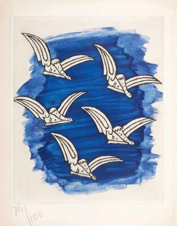 Illustrated Book Braque - René Char : LA BIBLIOTHÈQUE EST EN FEU. Avec une gravure originale de Georges Braque. 1956.