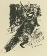 Lithograph Reboussin - Renard chassant / Fox Hunting (i.e., the fox is doing the hunting)