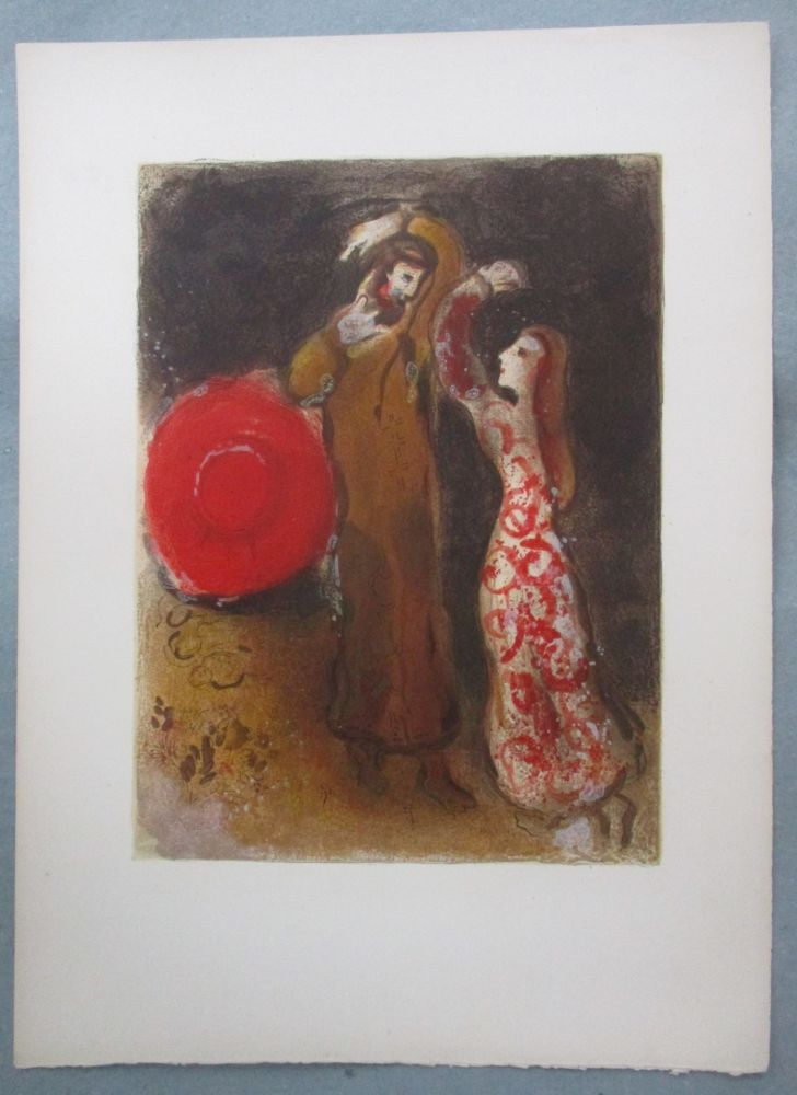 Lithograph Chagall - Rencontre de Ruth et de Booz, Meeting of Ruth and Boaz