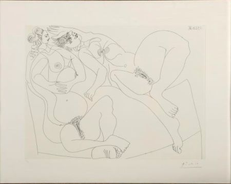 Engraving Picasso - Repos. Deux Filles Bavardant