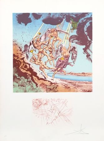 Lithograph Dali - Return of Ulysses from Homage a Homere